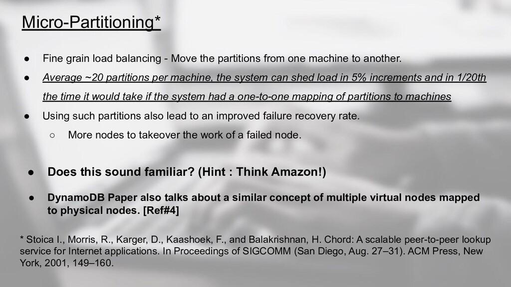 Micro-Partitioning* ● Fine grain load balancing...