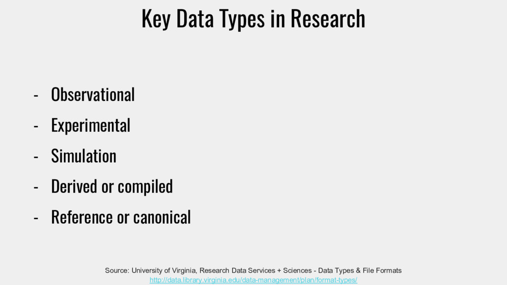 Key Data Types in Research - Observational - Ex...