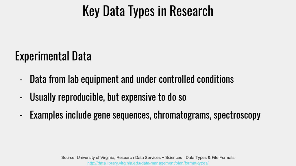 Experimental Data - Data from lab equipment and...