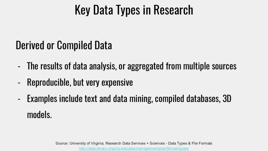 Derived or Compiled Data - The results of data ...