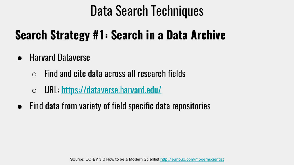 Search Strategy #1: Search in a Data Archive ● ...