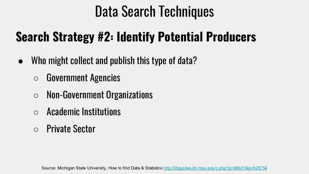 Search Strategy #2: Identify Potential Producer...