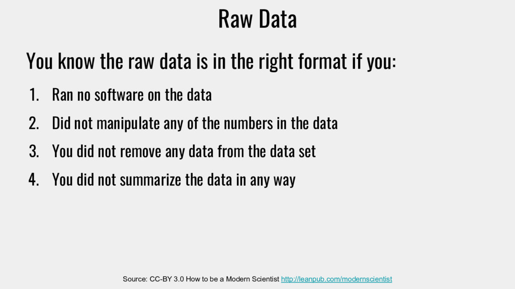 Raw Data Source: CC-BY 3.0 How to be a Modern S...