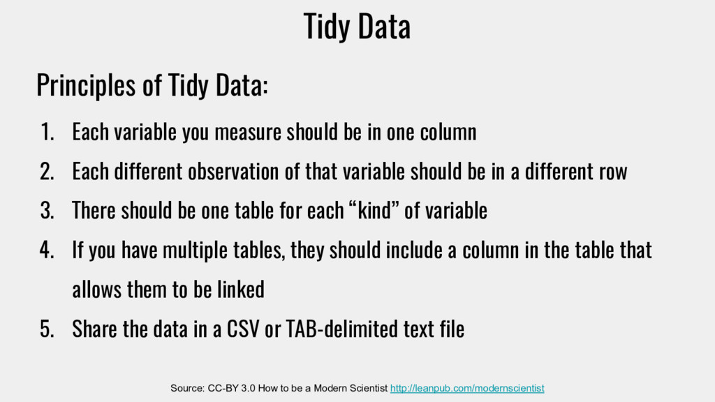 Tidy Data Source: CC-BY 3.0 How to be a Modern ...