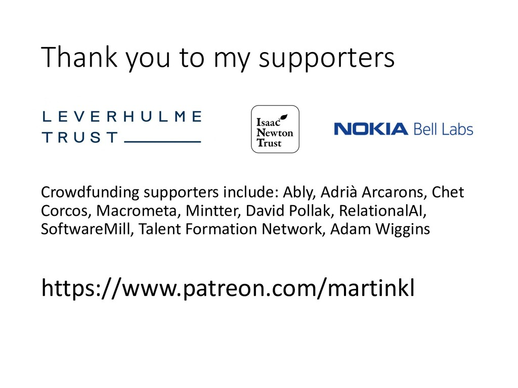 Thank you to my supporters Crowdfunding support...