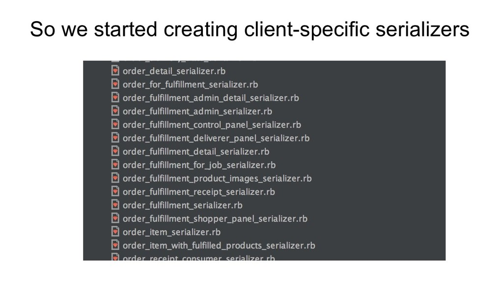 So we started creating client-specific serializ...