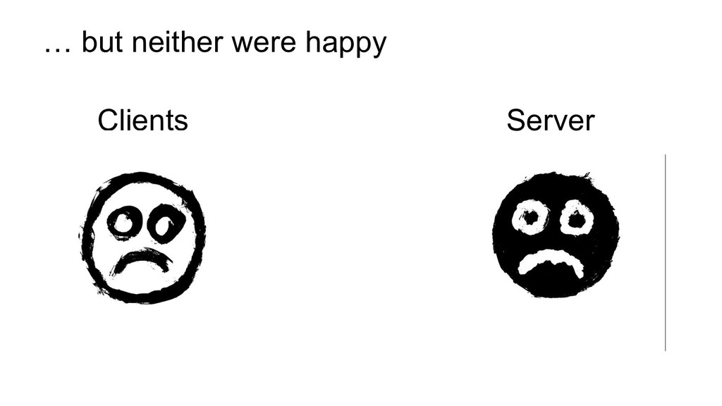 Clients Server … but neither were happy