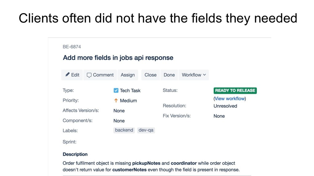 Clients often did not have the fields they need...