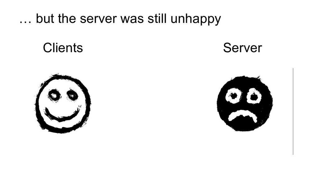 Clients Server … but the server was still unhap...
