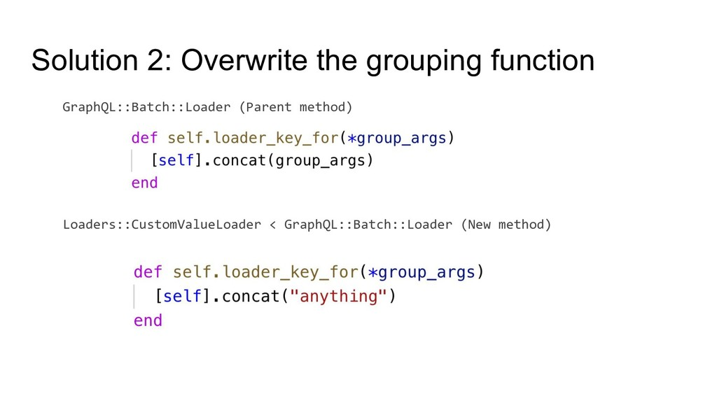 Solution 2: Overwrite the grouping function Gra...