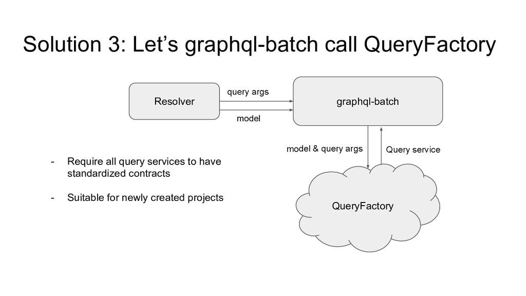 Solution 3: Let's graphql-batch call QueryFacto...