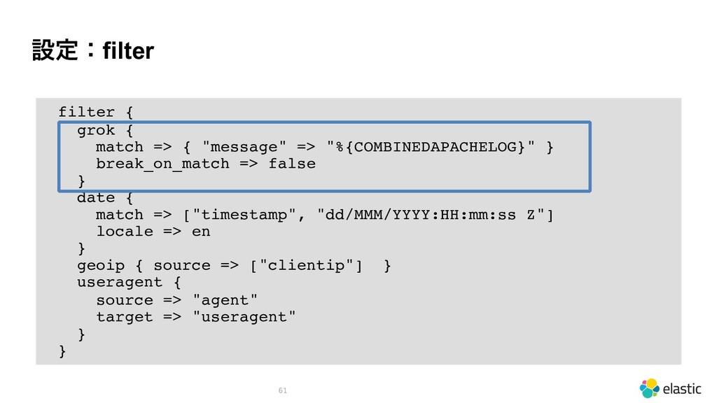"""ઃఆɿfilter 61 filter { grok { match => { """"messag..."""