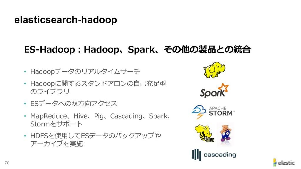 !70 elasticsearch-hadoop - • D E H • PD ecd E...