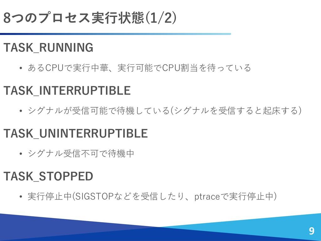 TASK_RUNNING • あるCPUで実行中華、実行可能でCPU割当を待っている TASK...