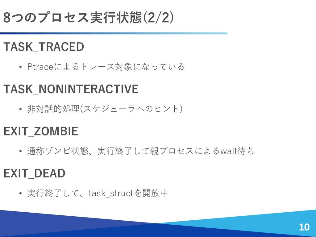 TASK_TRACED • Ptraceによるトレース対象になっている TASK_NONINT...