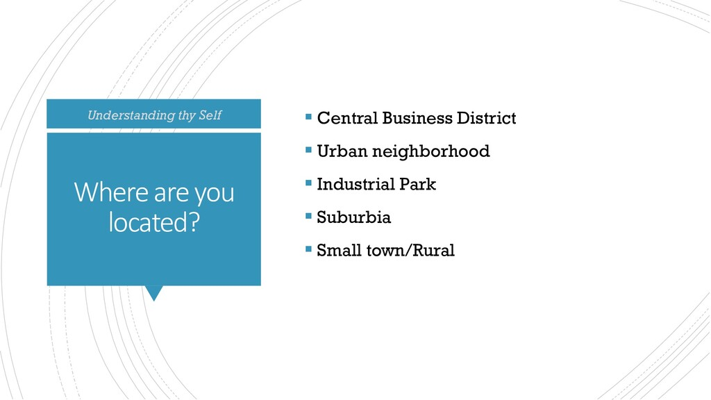 Where are you located?  Central Business Distr...