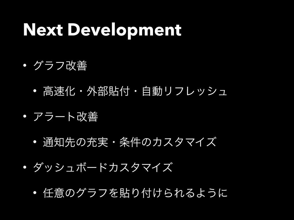 Next Development • άϥϑվળ • ߴԽɾ֎෦షɾࣗಈϦϑϨογϡ • ...
