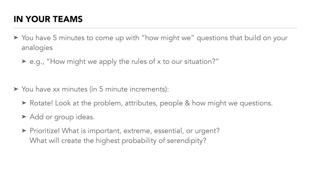 IN YOUR TEAMS ➤ You have 5 minutes to come up w...