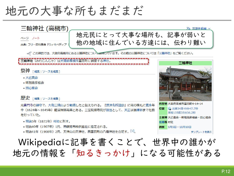WikipediaTownとは  元々のWikipediaTown  地域の文化財や観光名...