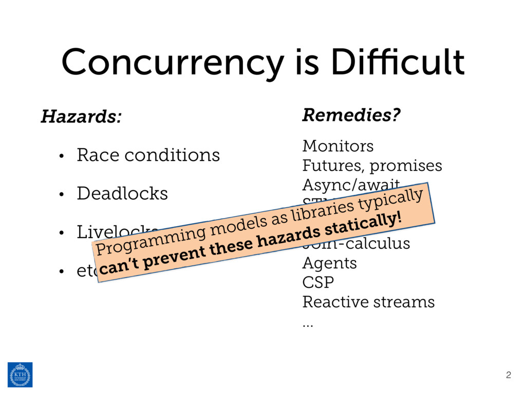 Concurrency is Difficult Hazards: • Race conditio...