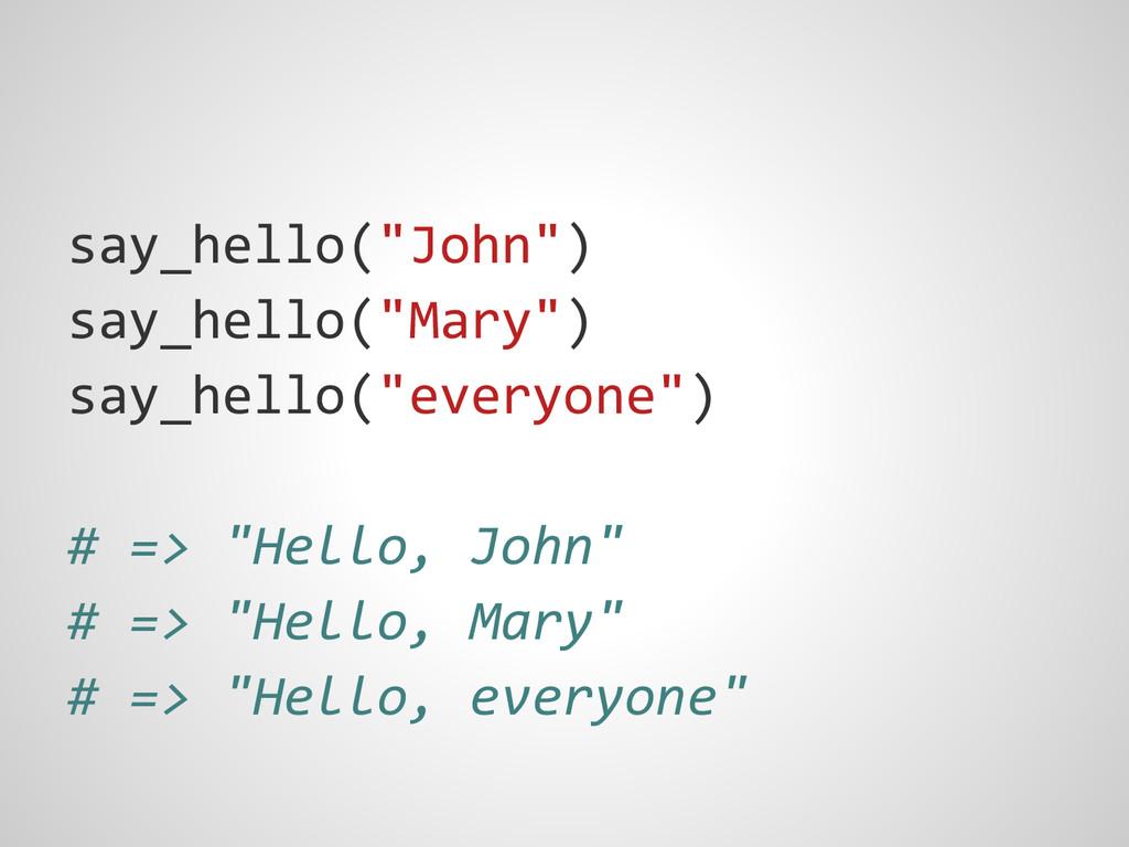 """say_hello(""""John"""") say_hello(""""Mary"""") say_hello(""""..."""