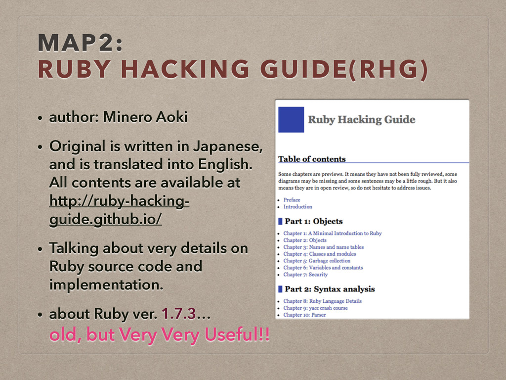MAP2:  RUBY HACKING GUIDE(RHG) • author: Miner...