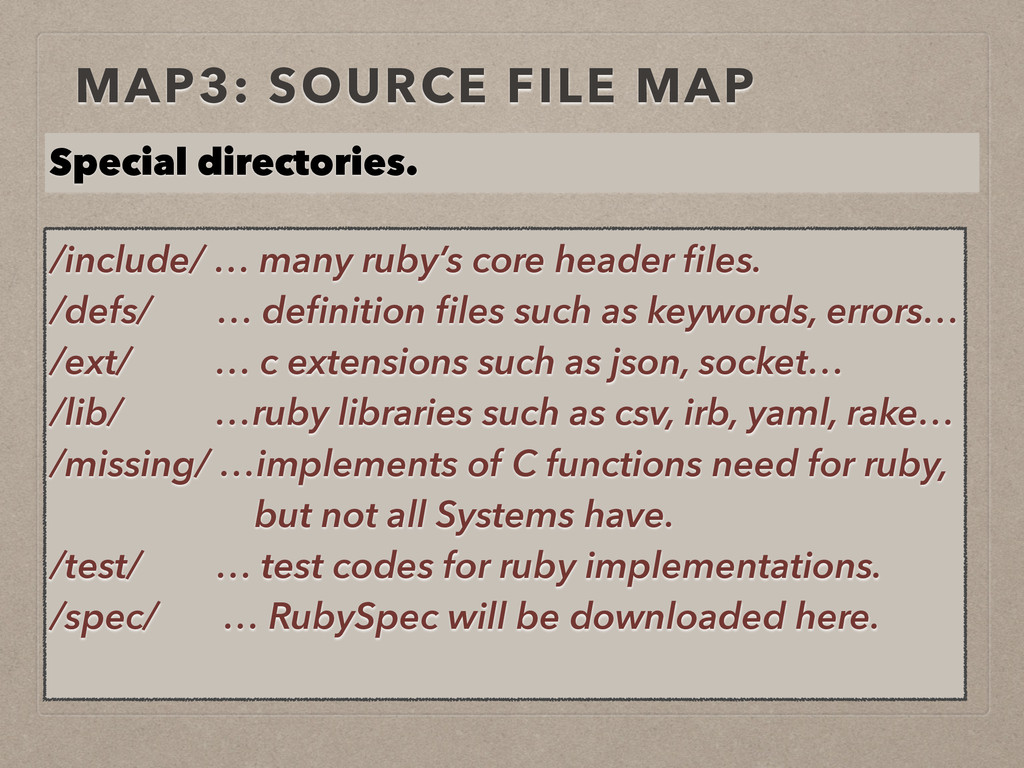 MAP3: SOURCE FILE MAP /include/ … many ruby's c...