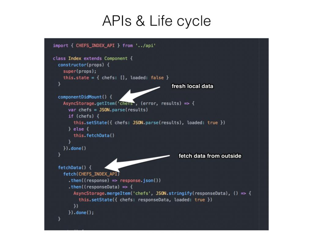 APIs & Life cycle