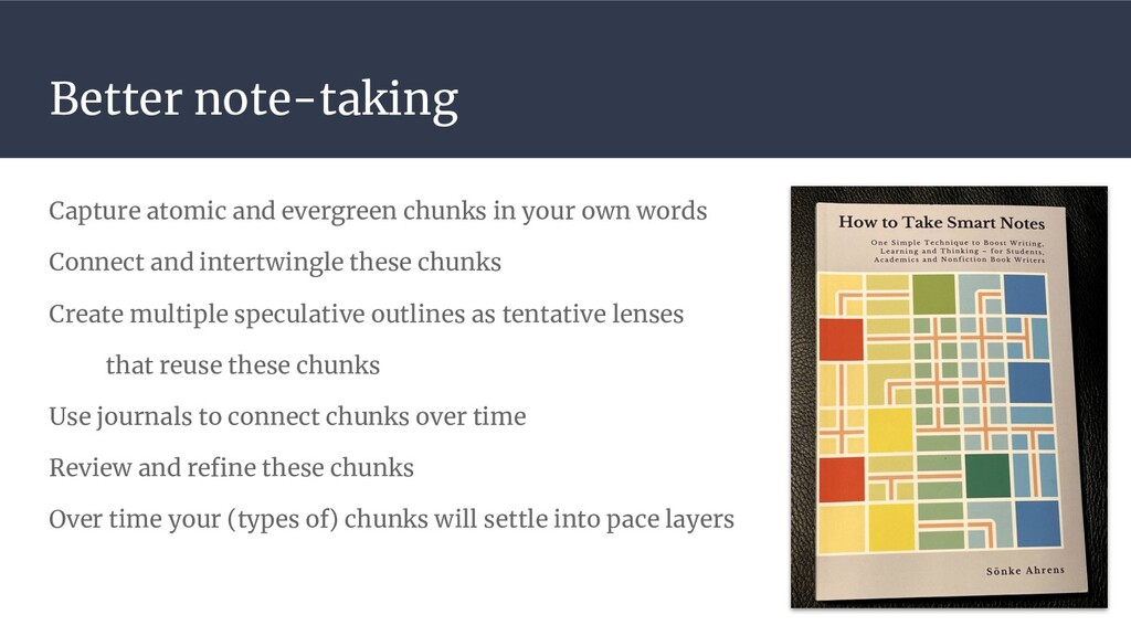 Better note-taking Capture atomic and evergreen...