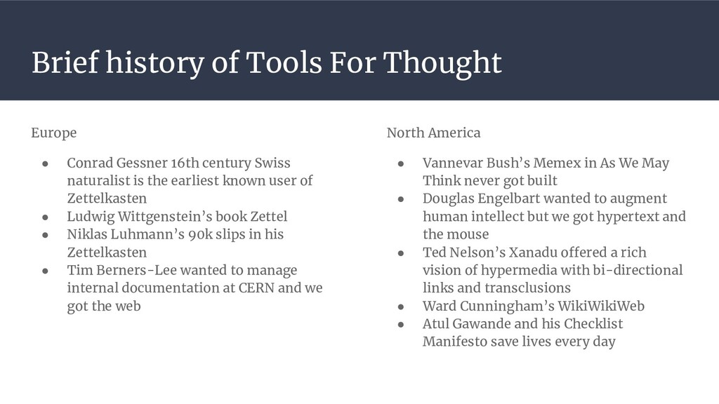 Brief history of Tools For Thought Europe ● Con...