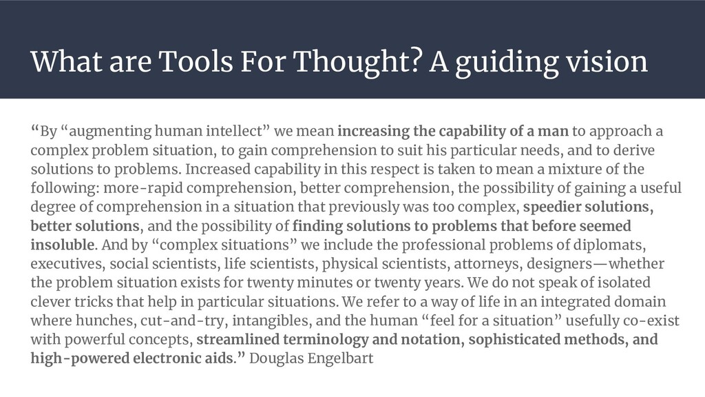 """What are Tools For Thought? A guiding vision """"B..."""