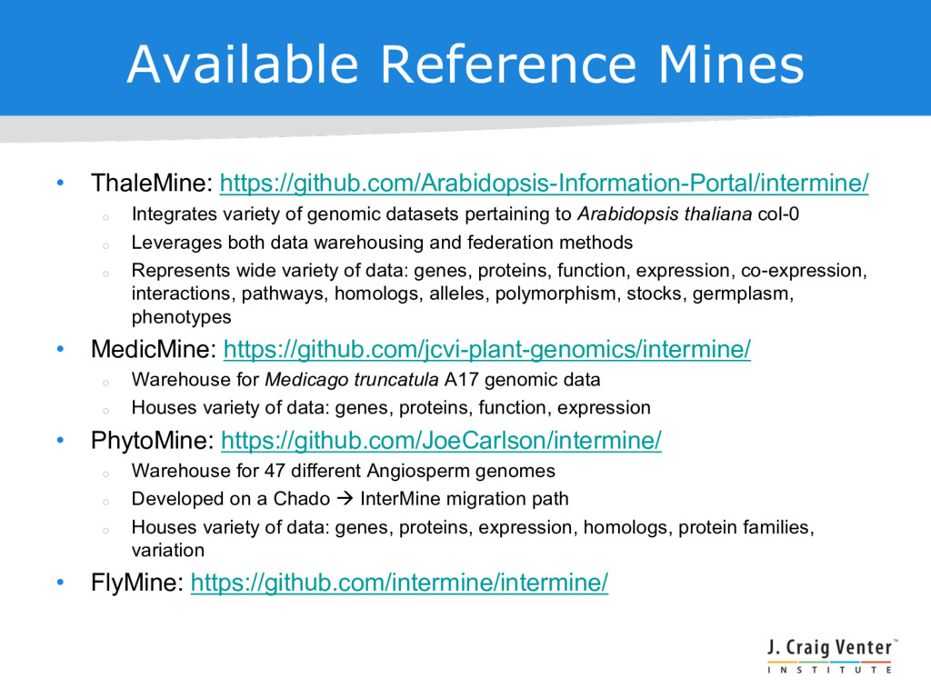 Available Reference Mines • ThaleMine: https://...