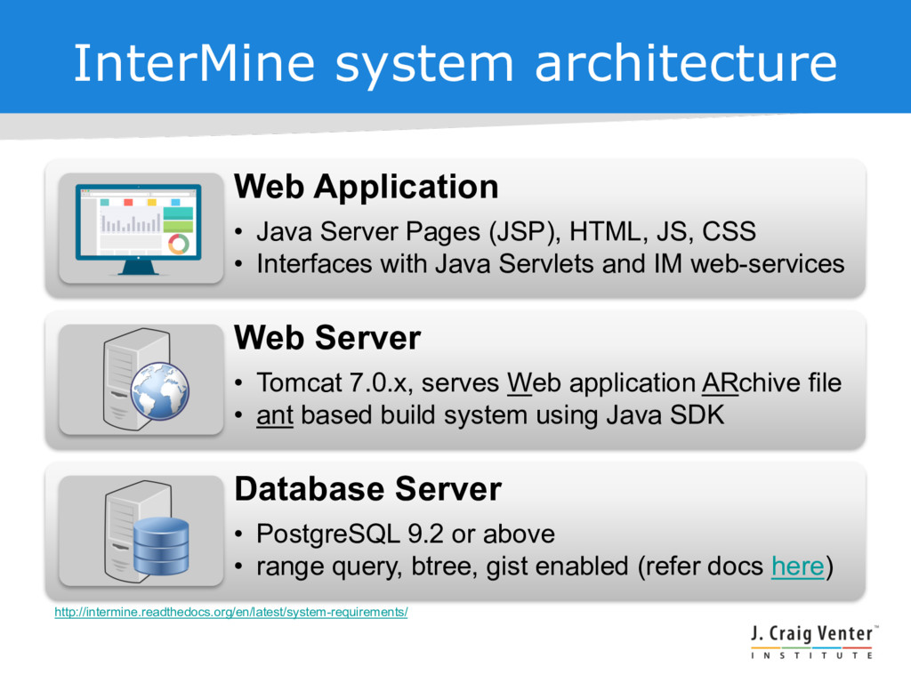 InterMine system architecture Web Application •...