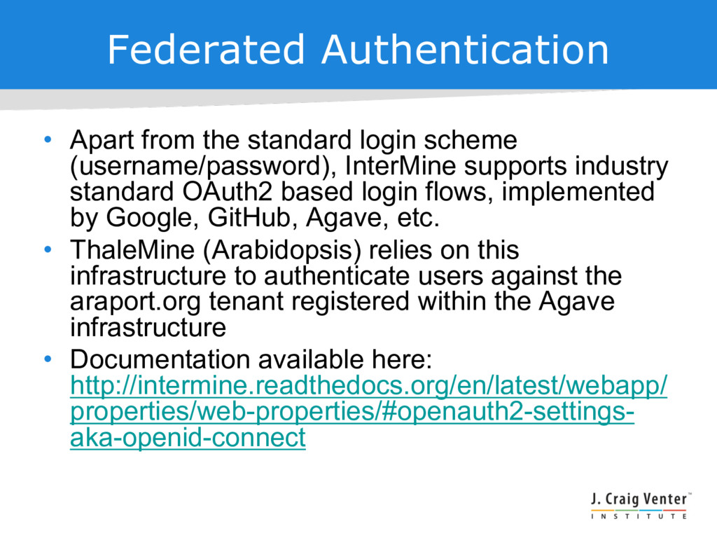 Federated Authentication • Apart from the stand...