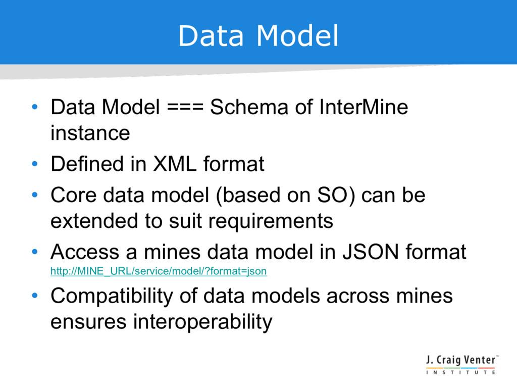 Data Model • Data Model === Schema of InterMine...