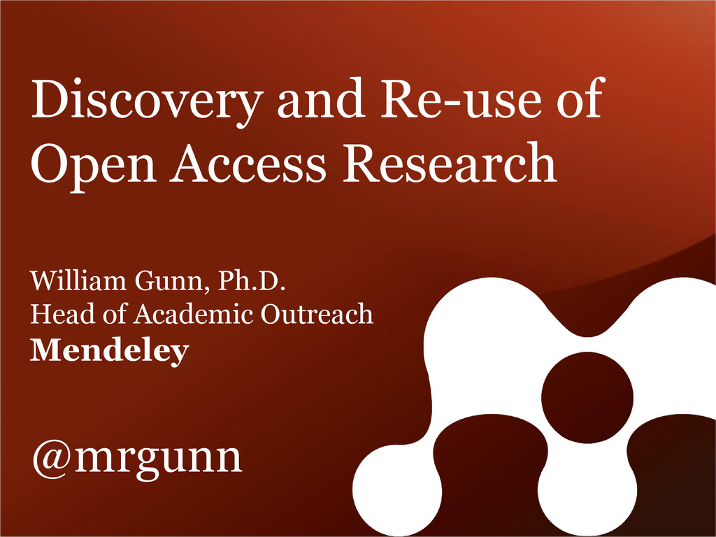 Discovery and Re-use of Open Access Research Wi...