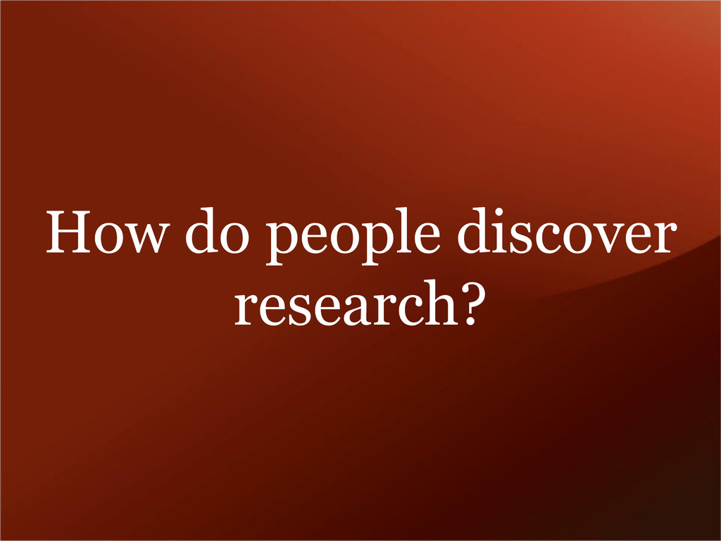 How do people discover research?