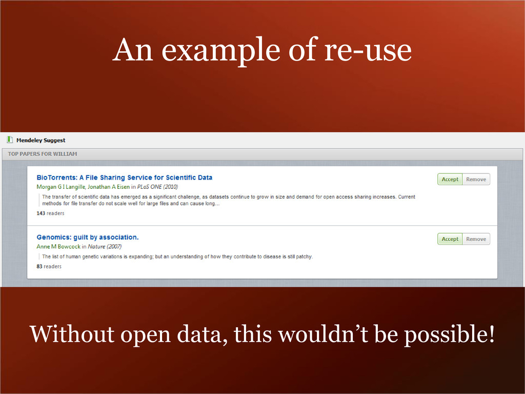 An example of re-use Without open data, this wo...