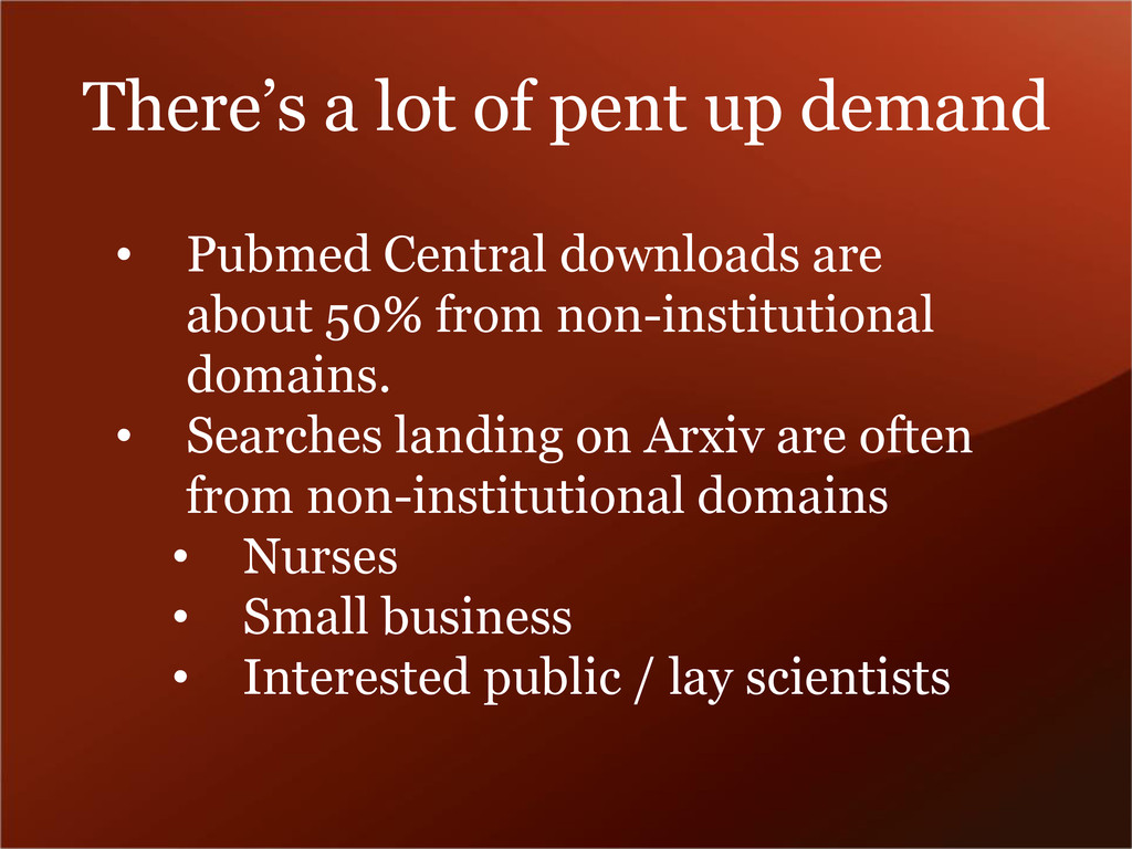 There's a lot of pent up demand • Pubmed Centra...