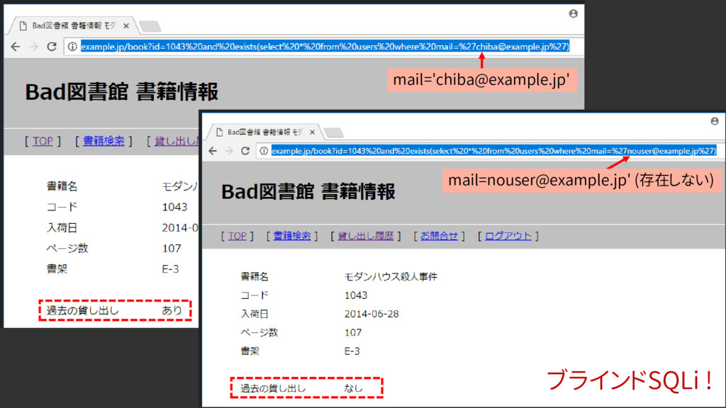mail='chiba@example.jp' mail=nouser@example.jp'...