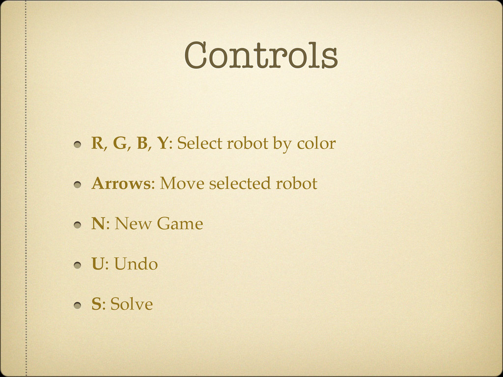 Controls R, G, B, Y: Select robot by color Arro...