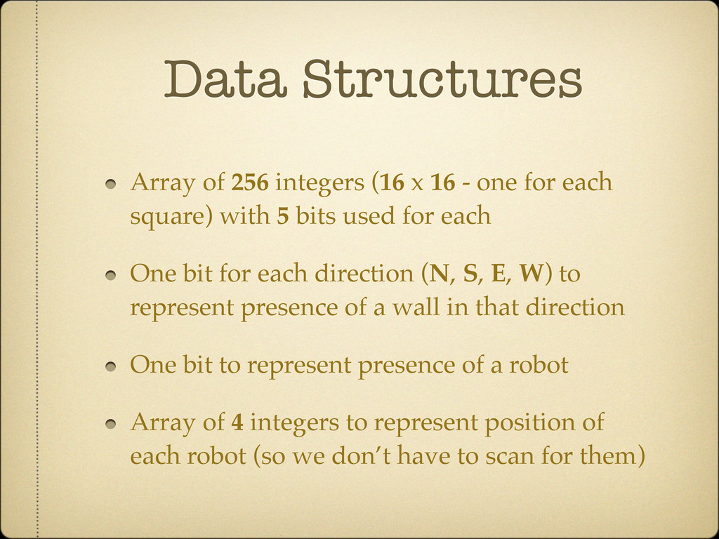 Data Structures Array of 256 integers (16 x 16 ...
