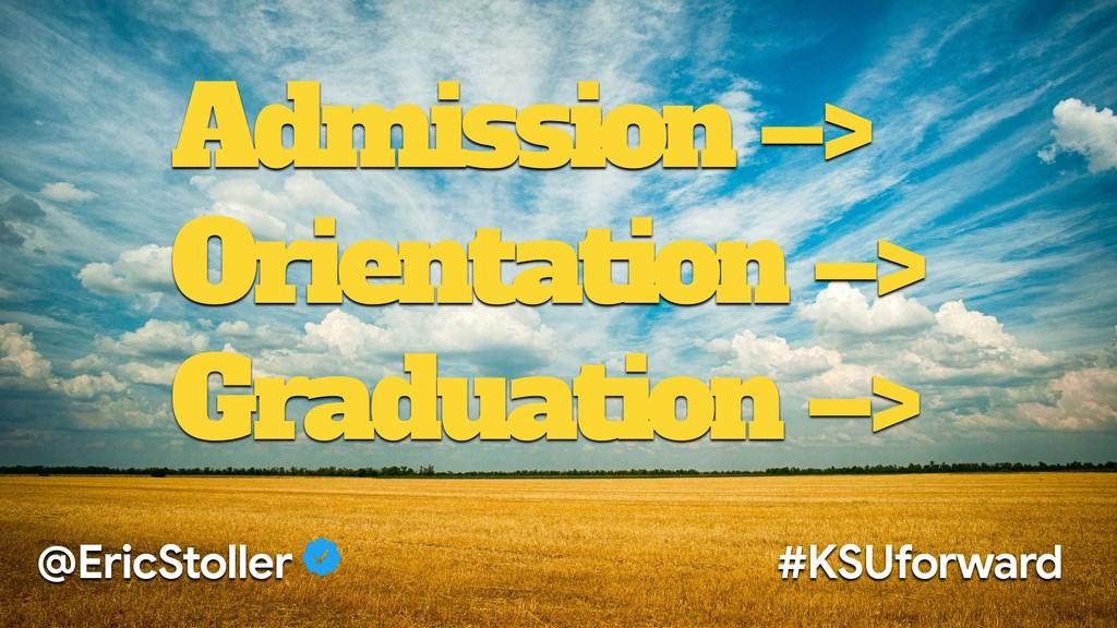 Admission –> Orientation –> Graduation –> @Eric...