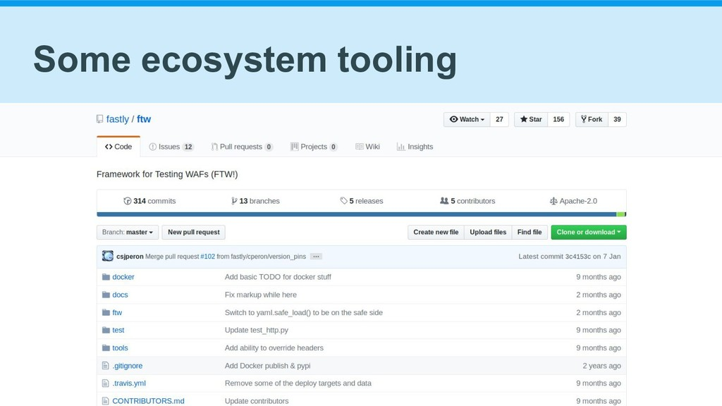 Some ecosystem tooling