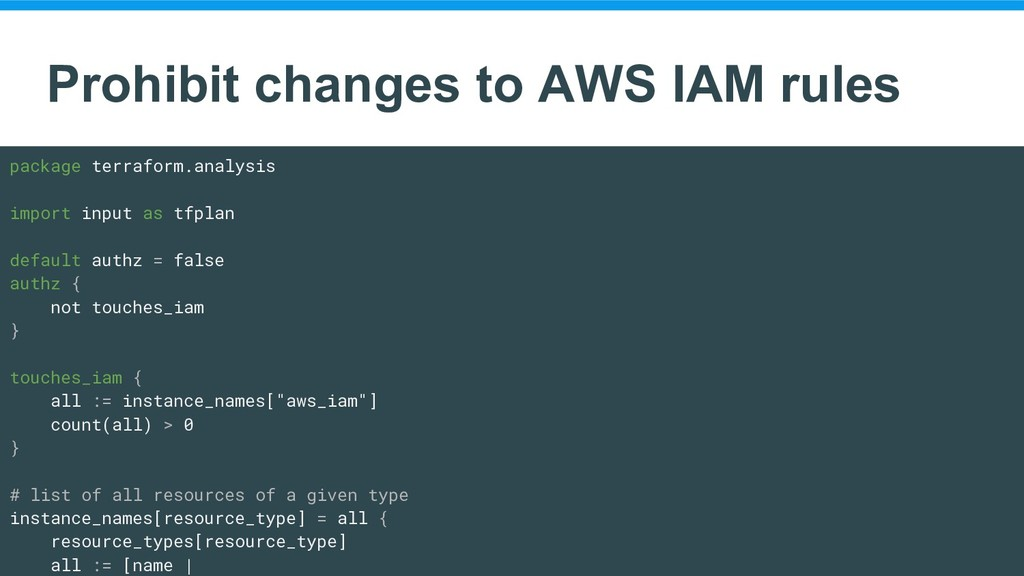 Prohibit changes to AWS IAM rules package terra...