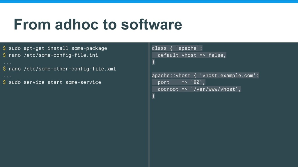 From adhoc to software $ sudo apt-get install s...