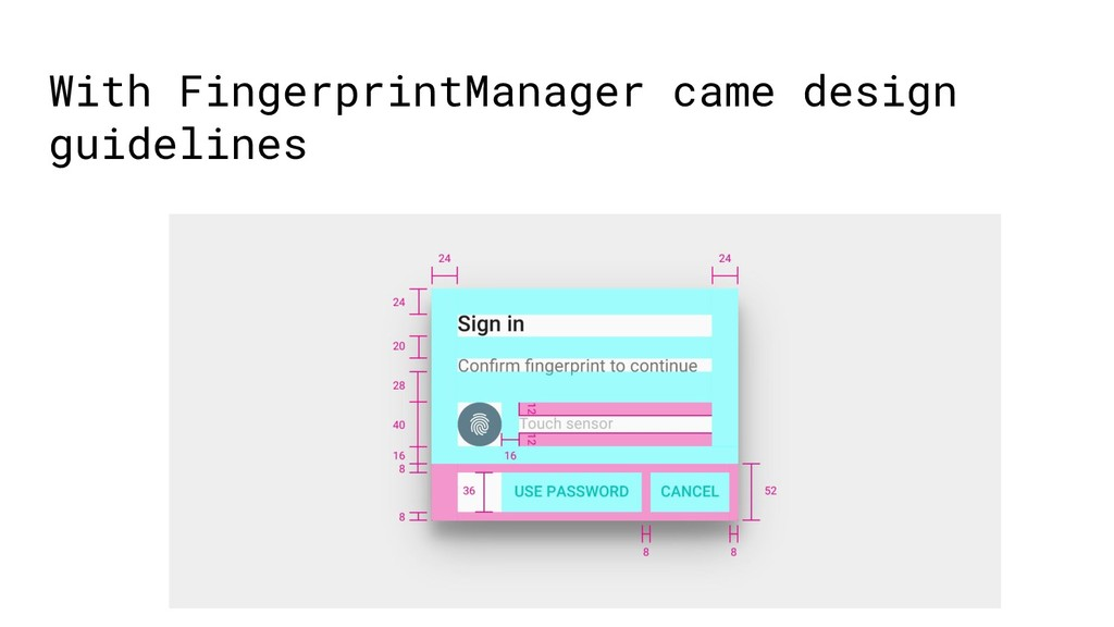 With FingerprintManager came design guidelines