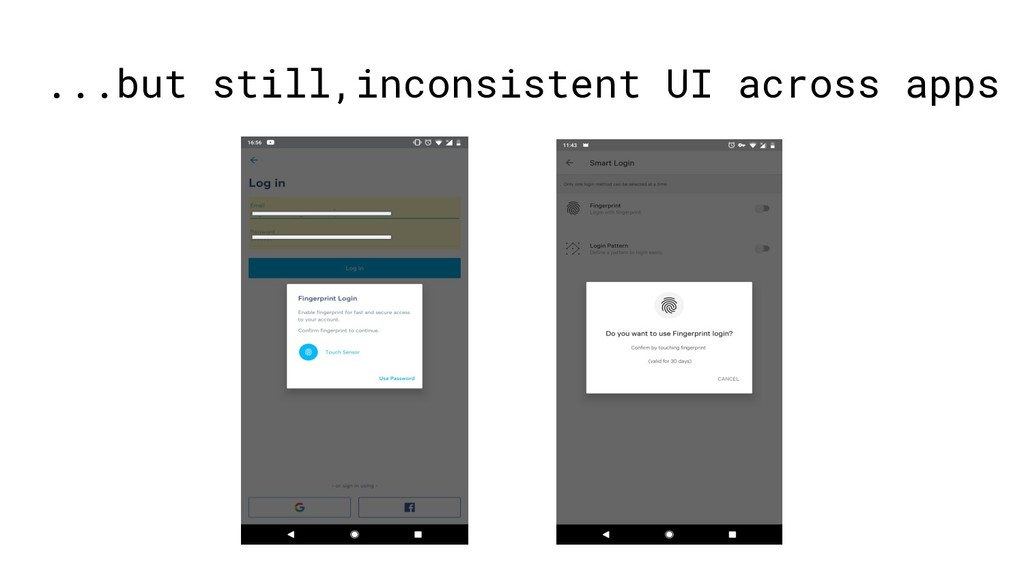 ...but still,inconsistent UI across apps