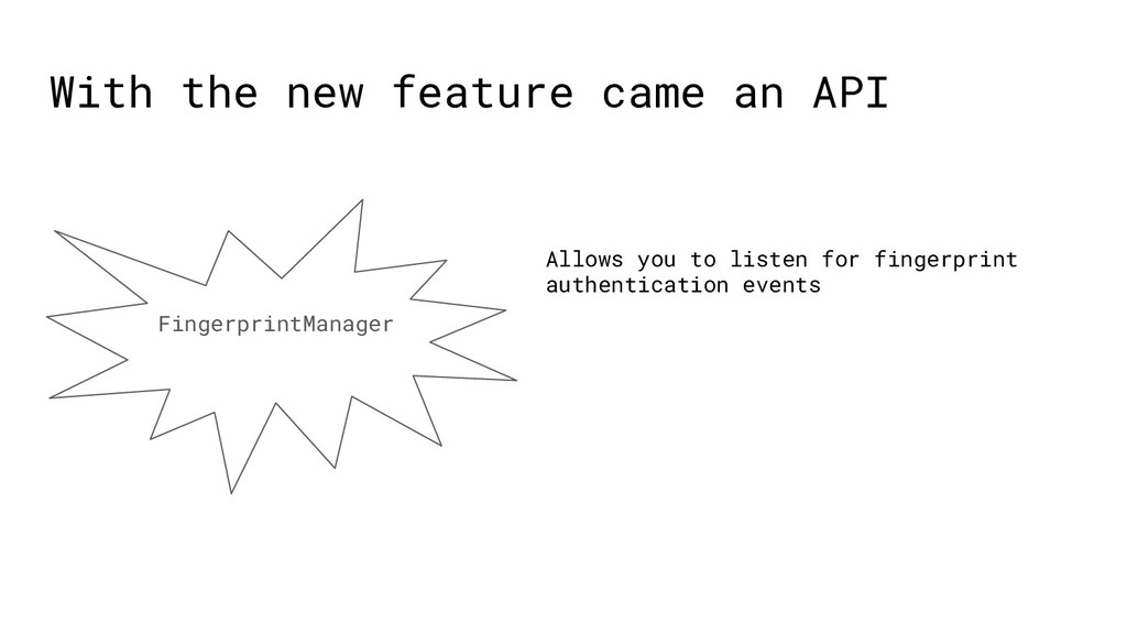 With the new feature came an API FingerprintMan...
