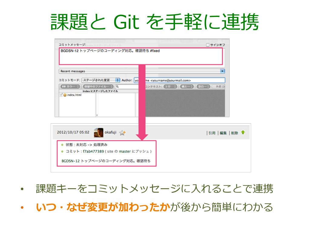 課題と Git を⼿手軽に連携 • 課題キーをコミットメッセージに⼊入れることで連携 •...